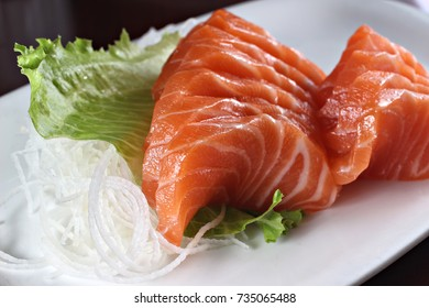 Salmon sashimi, shallow focus