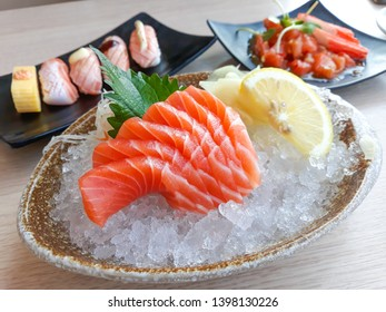 Salmon Sashimi and Sushi ,Japanese food.