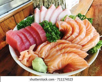 Salmon sashimi tuna sashimi hamaji sashimi