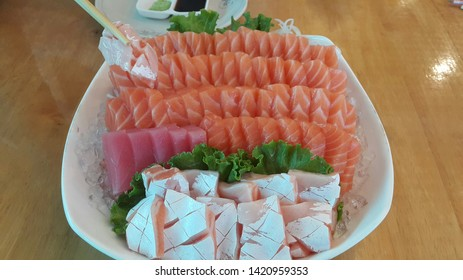Salmon Sashimi Tuna Sashimi and Otoro Sashimi mixed on one dish. It's very delicious for lunch.
