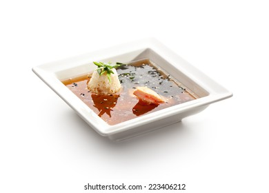 Salmon Soup with Seaweed and Rice