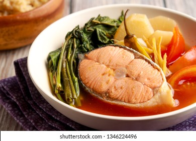 Salmon in sour Miso broth. Very tasty dish from Philippines. Sinigang na Salmon.