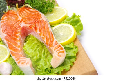 salmon and spices isolated