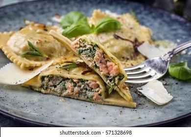 Salmon Spinach Ravioli on Plate
