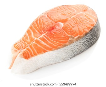 salmon steak close-up isolated on white background