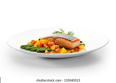 Salmon Steak with Fruits, Vegetables, Asparagus and Lemon