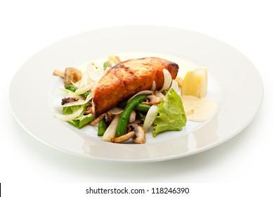 Salmon Steak with Vegetables, Asparagus, Lemon, Onions, Mushrooms and Sauce