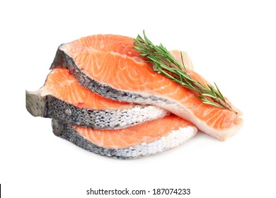 Salmon steaks with rosemary, isolated on white background