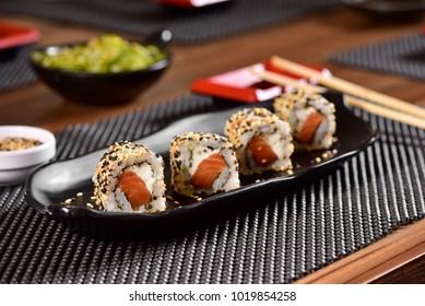 Salmon sushi foursome