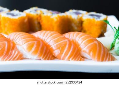 Salmon sushi japanese food