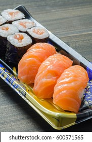 Salmon Sushi and Maki close up shot