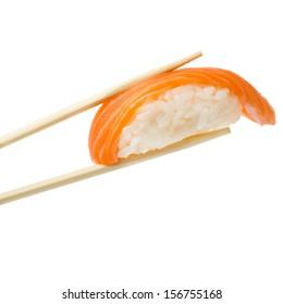 Salmon sushi nigiri in bamboo sticks