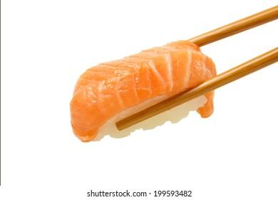 Salmon sushi nigiri isolate on white background.
