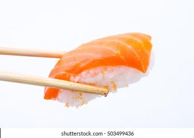Salmon sushi nigiri isolate on white background