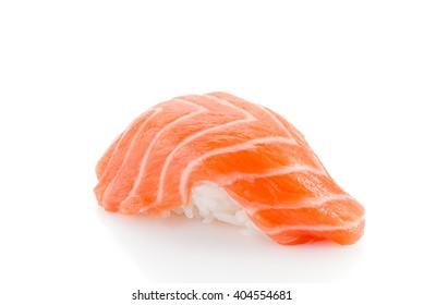Salmon sushi nigiri isolated on white background