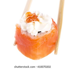 Salmon sushi roll with cheese