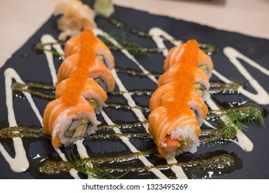 Salmon Sushi roll on plate