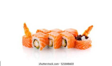 Salmon sushi roll with shrimp isolated on white background