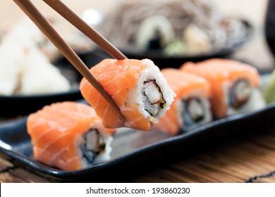 Salmon sushi rolls, japanese food