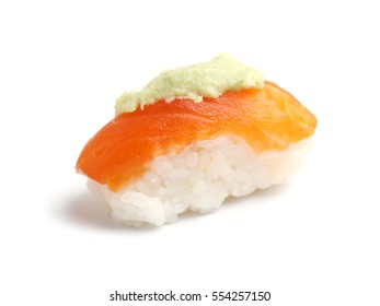 Salmon sushi with wasabi on top isolated on white background.