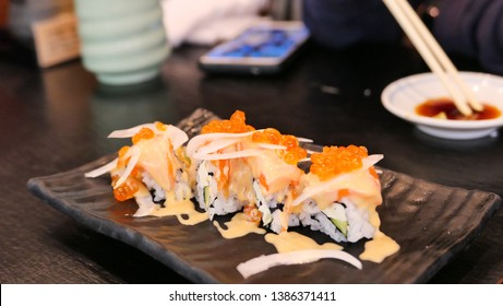 Salmon sushi,delicious food,shop in japan
