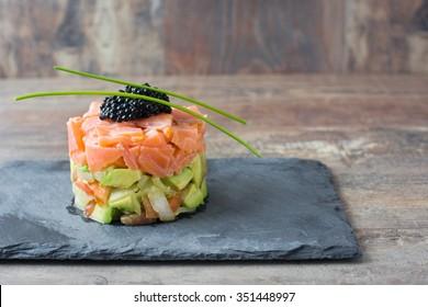 Salmon tartare with avocado, spring onion,tomato and caviar
