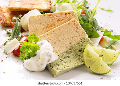salmon terrine with rocket salad