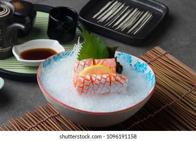 Salmon Toro , Fish belly  Japanese sashimi Food