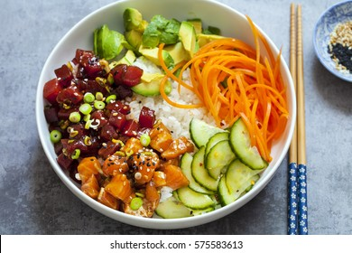 Salmon and tuna poke