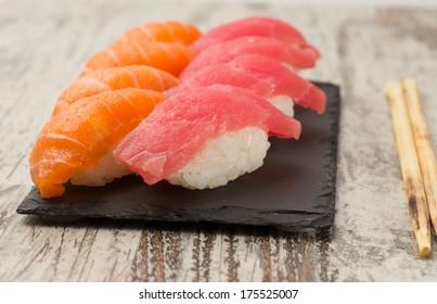 Salmon and tuna sushi nigiri