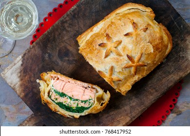 Salmon wellington in puff pastry