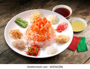 Salmon Yee Sang or Yusheng, a Chinese new year celebration dish