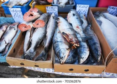 Salmons on street market, Vladivostok, Russia