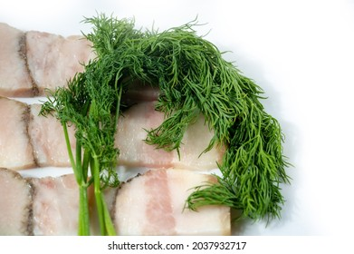 Salo (a traditional, predominantly Slavic food consisting of dried lumps of fat (rarely pork belly), with or without skin. Grocery photography