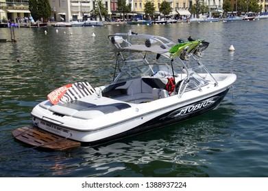 Salo, Italy - April 22, 2019: Moomba wakeboard boat in the harbor of Salo.