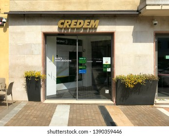 Salo, Italy - April 22, 2019: Entrance of the Italian Credem Bank.