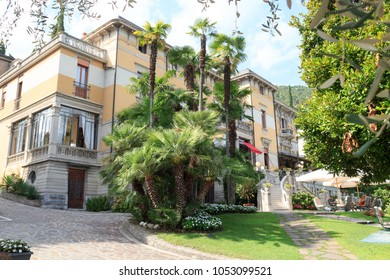 Salo, Italy - August 8, 2018: Villa Laurin and palm trees at Lake Garda. The Ministry of Foreign Affairs was based in the premises during the Soci