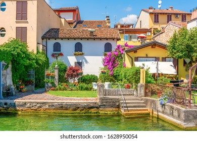 Salo, Italy - August, 8, 2019: View of the houses and the yard. Salo village. Italy. Lake Garda.