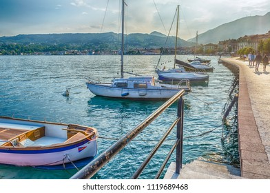 SALO, ITALY - JUNE 1: Scenic view of the waterfront in the town of Salo, Lake Garda, Italy, June 1, 2014