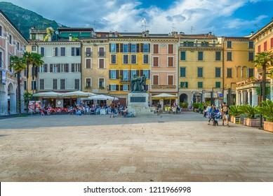 SALO, ITALY - JUNE 1: War memorial in Piazza della Vittoria, iconic square in Salo, Lake Garda, Italy, June 1, 2014
