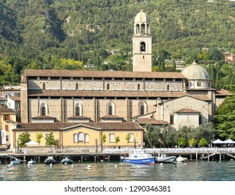 SALO, ITALY - SEPTEMBER 2018: Charuch on the lakefront of Salo on Lake Garda.