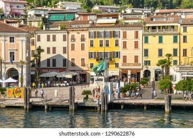 SALO, ITALY - SEPTEMBER 2018: Lakefront of the town of Salo on Lake Garda.