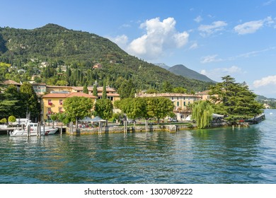 SALO, ITALY - SEPTEMBER 2018: Lakefront at the town of Salo on Lake Garda.