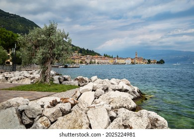 Salo, Lombardy, Italy - July 10, 2019: View of the historic part of Salo on Lake Garda. In the foreground, there is an olive tree on the waterfront.