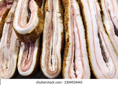 salo sliced pork fat bacon close-up