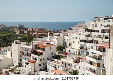 Salobrena old town against the background of its resort coast, Andalusia, Spain