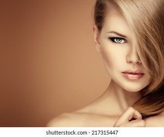 Salon hairstyle fashion model.