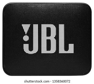 Salonta, Romania - March 30, 2019: Front view of the small, entry-level bluetooth speaker from JBL, the JBL GO 2.