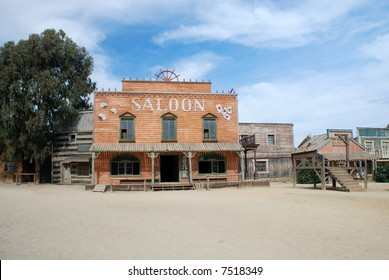 Saloon and gallow in an old American western town