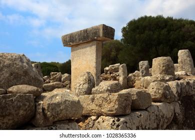 Salort site, Menorca / Spain - June 23, 2016: Taula de Torralba d'en Salort in prehistoric site in Menorca, Balearic Islands, Spain